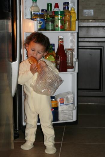 caroline eating out of fridge