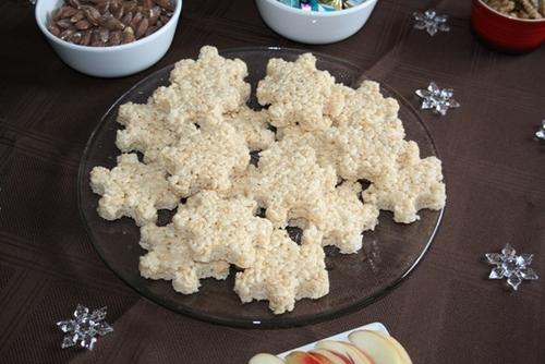 rice krispie treat snowflakes