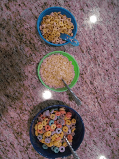 3 bowls of cereal