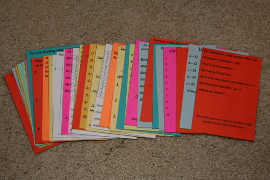 Activity Cards cut out and on colored paper.
