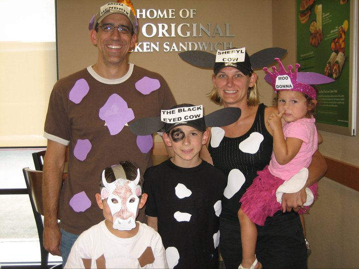 Picture of Family Dress for Cow Appreciation Day at Chick-fil-a