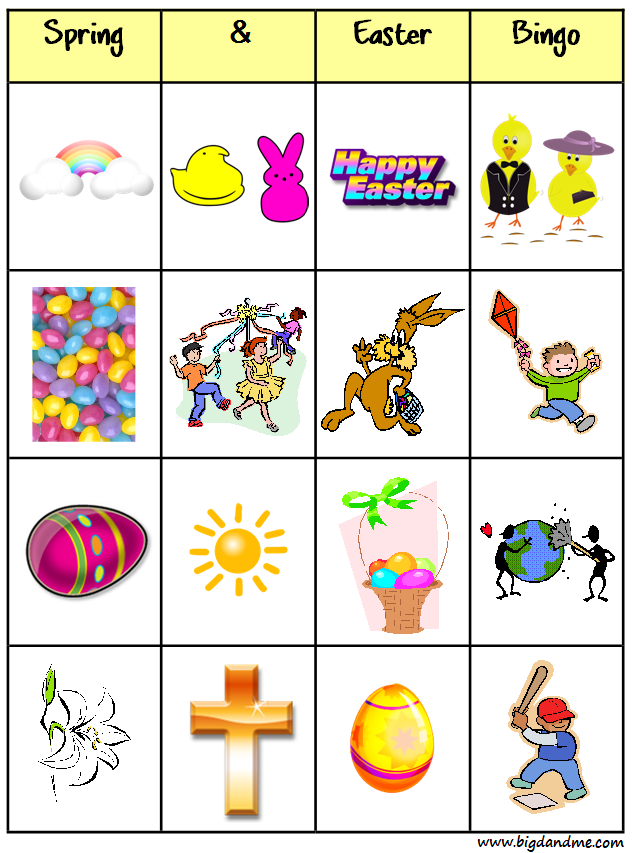 photo relating to Spring Bingo Game Printable identified as Spring / Easter Bingo Significant D and Me