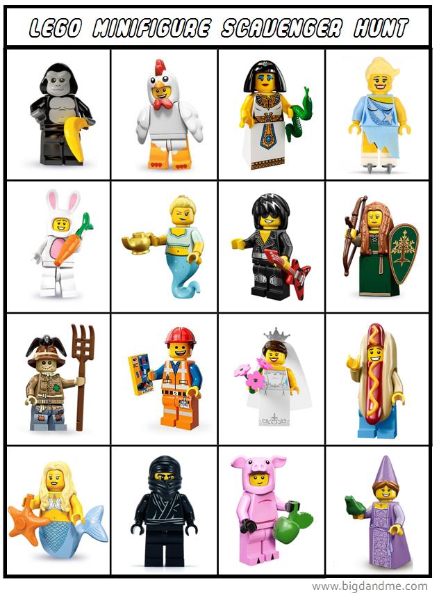 photo regarding Lego Minifigure Printable titled LEGO Minifigures Scavenger Hunt obtain Huge D and Me